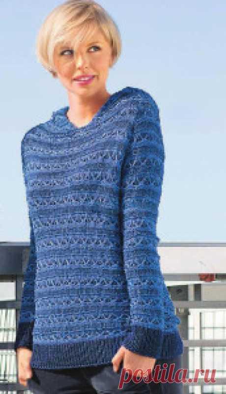 Синий весенний пуловер - Связано всё....! Ажурные полоски и сочетание синих оттенков — от пуловера веет свежим морским воздухом! Размеры: 36/38 (40) 42/44 Вам потребуется: 500 (550) 600 г тёмно-синей пряжи Laguna (80% вискозы, 20% шёлка, 77 м/50 г); 250 (300) 300 г синей пряжи Lino (100% льна, 110 м/50 г); прямые и круговые спицы № 4,5. Резинка: 1 лиц., 1 изн. попеременно. Рельефный узор: число петель кратно 6 + 2 кром. Вязать по схеме, на которой приведены лиц. и изн. р. ...