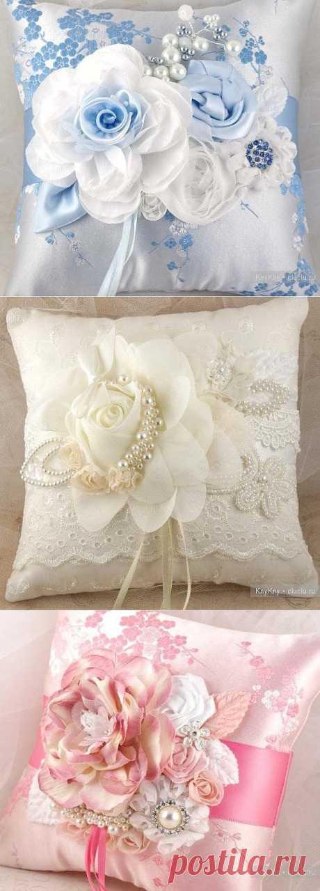 Идеи для создания свадебных подушек..