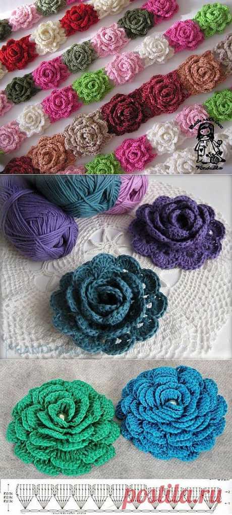We knit florets a hook.,