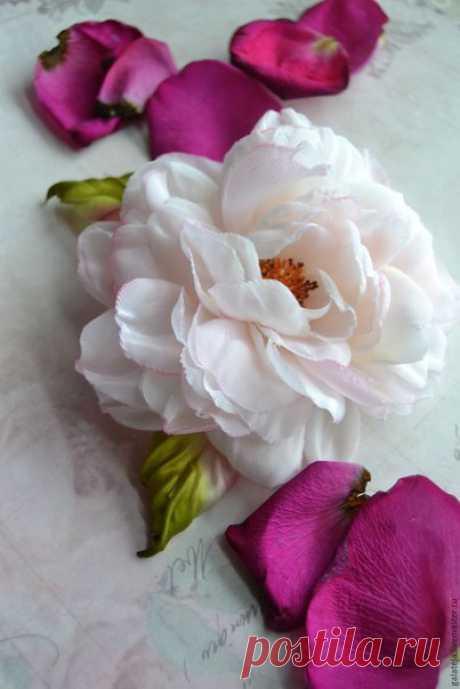 """Создаем брошь-розу из шелка """"Маркиза"""" / Вкусные привычки"""