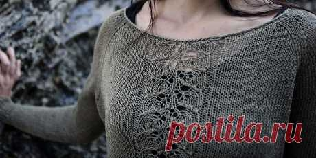 Пуловер реглан женский Linho Простой летний пуловер реглан связан сверху вниз из прохладной льняной пряжи и украшен спереди нежным ажурным узором. Пуловер реглан женский спицами для лета.
