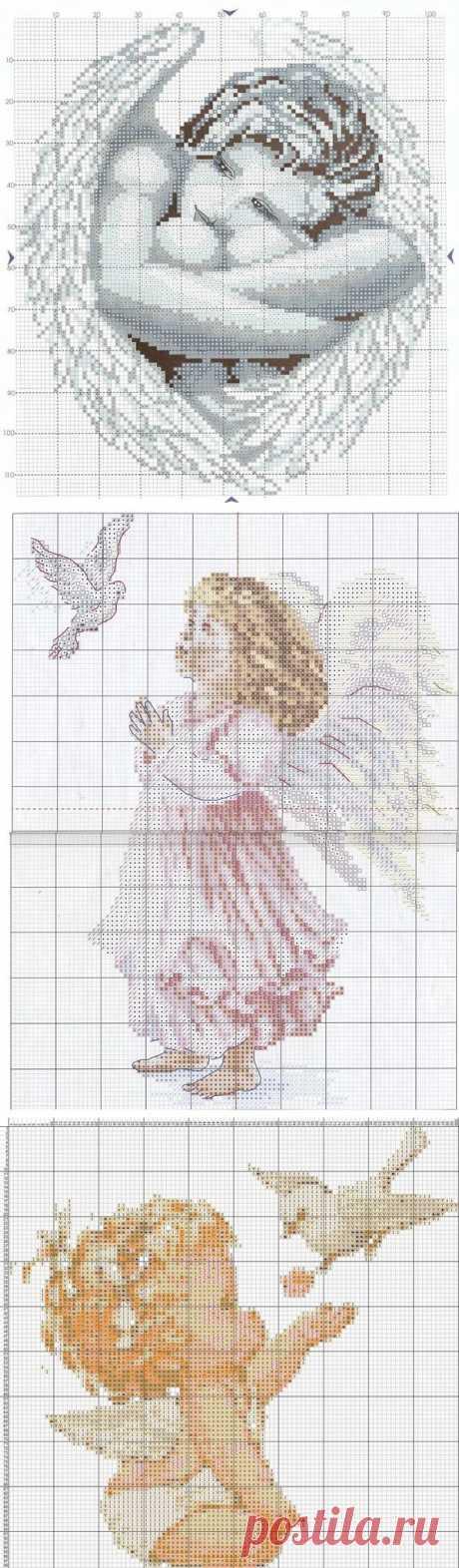 Ангелочки - 19 схем для вышивки крестом.