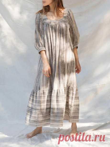 Women Stripe Flax Square Neck Maxi Dresses - US$25.99