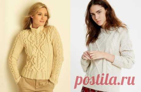 Модный свитер 2020 женский. Схема и описание вязания спицами с аранами, косами. Мастер класс