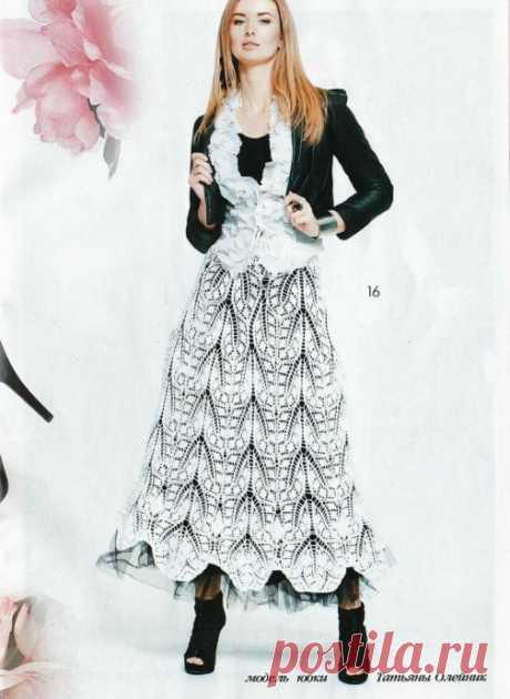 Красивая кружевная юбка спицами.