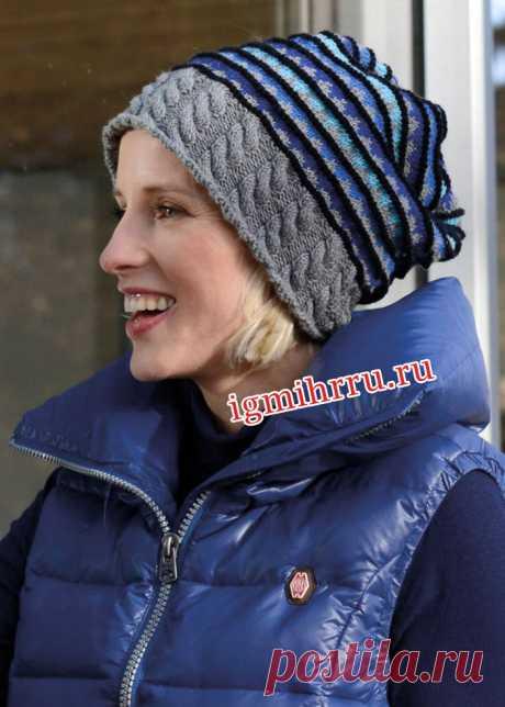 Женская шапочка с «косами» и полосками. Вязание спицами