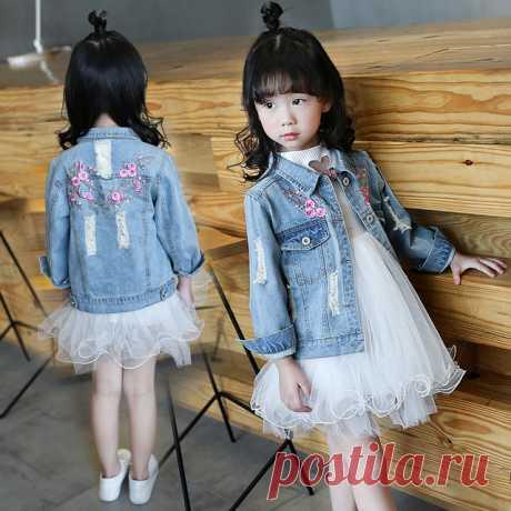 iAiRAY primavera 2018 nuevos niños abrigo corto de mezclilla para niñas bordado chaqueta de flores jeans prendas de vestir exteriores ropa de niños ropa de niñas R-d93