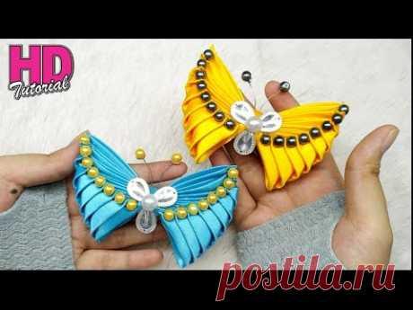 DIY - How to make butterfly with satin ribbon || Kanzashi || bros kupu-kupu