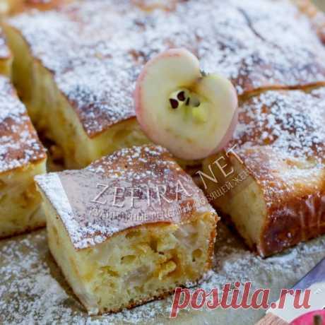 Творожная шарлотка с яблоками — Кулинарные рецепты любящей жены