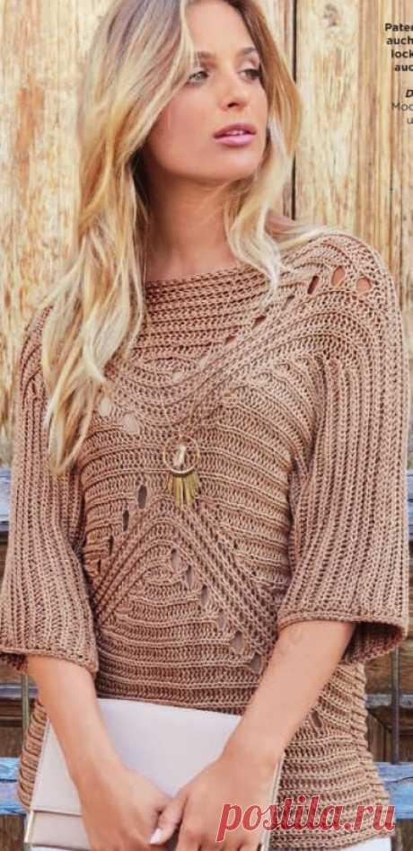 Лососевый пуловер спицами