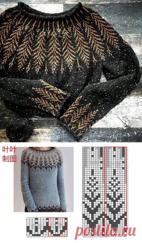 Пуловер с круглой жаккардовой кокеткой.