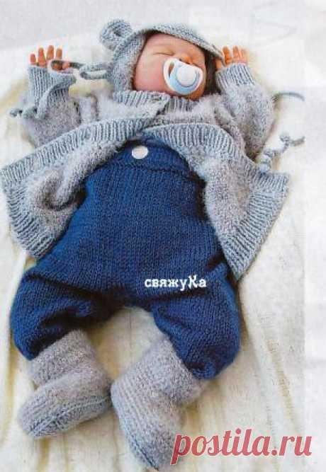 Комплект для новорожденного вязаный спицами схемы +описание