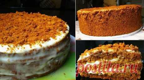 """Бисквитный торт """"Медовый"""": Нежный, вкусный и приготовить легко"""