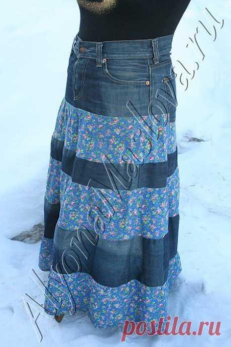 Юбка из старых джинсов | Мастерская рукоделия Алёны Масловой