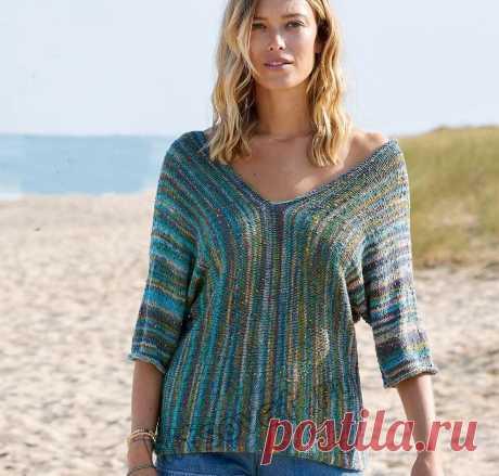Стильный летний пуловер связанный поперек - Хитсовет