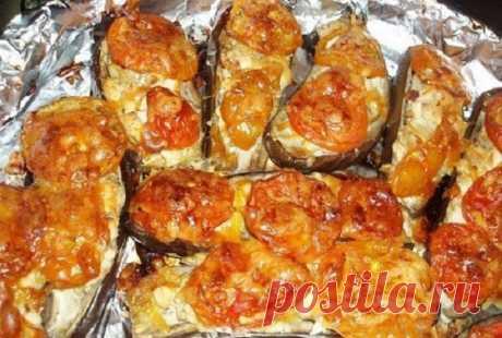 Фаршированные баклажаны с овощами под сырной корочкой!