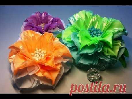 Ribbon flowers:quick dahlia/Flores de las cintas:dalia rápidamente/Цветы из лент:георгин быстро.МК