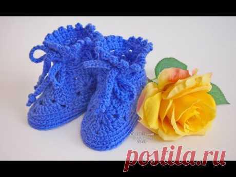 Пинетки крючком для начинающих   Вязание пинеток для новорожденных  Урок 220  Booties crochet for be