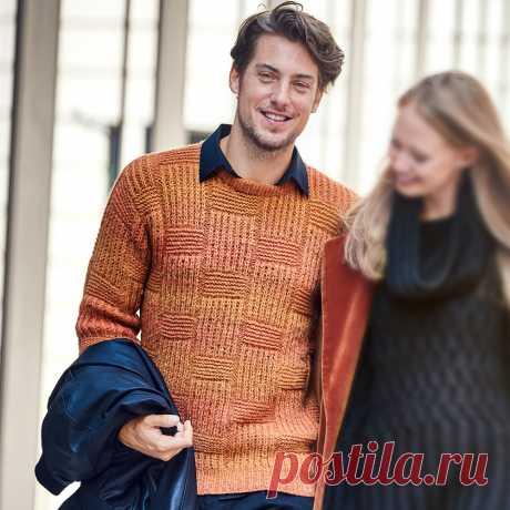 Мужской джемпер в оранжевых оттенках - схема вязания спицами с описанием на Verena.ru