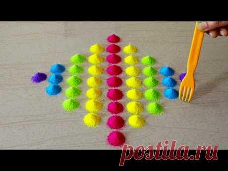 Easy Color Rangoli Designs For Diwali 2020 | Easy Deepavali Kolam Designs | Dussehra Rangoli Easy