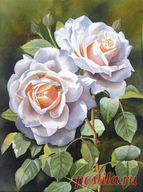 уроки рисования: Поэтапное рисование реалистичной розы акварелью