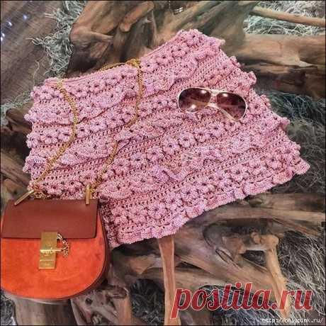 Интересная мини-юбка спицами - схема вязания