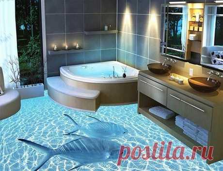 Наливной 3Д пол в ванной.