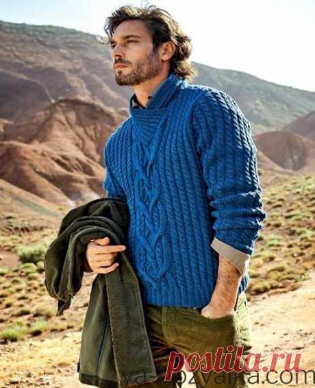 Вязаные модели спицами для мужчин. Схема вязания мужского пуловера спицами