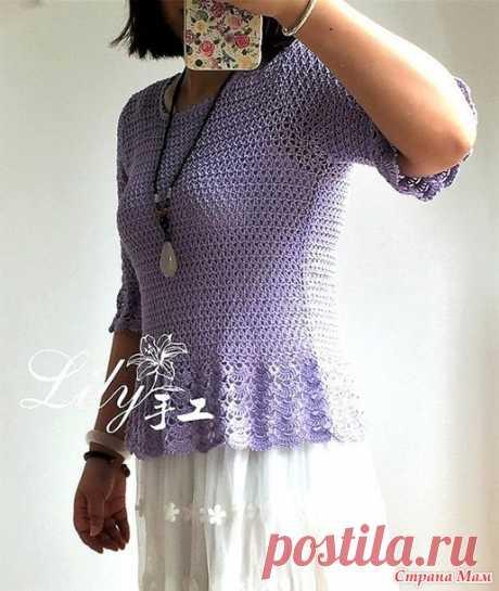 . Фиолетовый ажурный пуловер с воланами и баской.. - Все в ажуре... (вязание крючком) - Страна Мам