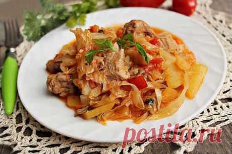 Тушеная Капуста с Мясом и Картошкой - Пошаговый Рецепт с Фото