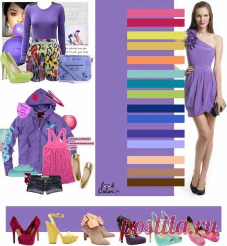 СИРЕНЕВО-РОЗОВЫЙ цвет (правильное сочетание цветов в одежде)   Рассмотрите такие сочетания сиреневого аметиста, как с цветом жимолости, красно-маджентовым, зеленовато-желтым, золотистым, светло-оранжевым, ментоловым, мятным, светло-салатовым, кобальтовым, синий электрик, темно-сиреневым, сиреневым, персиково-бежевым, светло-коричневым, желто-коричневым.