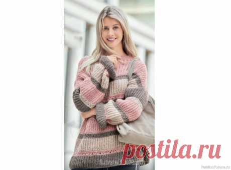 Полосатый пуловер оверсайз спицами | Вязание для женщин спицами. Схемы вязания спицами Светлый оттенок розового дерева очарователен, а в сочетании с серым и бежевым создает самую стильную цветовую комбинацию сезона. Чтобы в этом убедиться, стоит только посмотреть на непринужденный свитер оверсайз в полоску. Размеры: 36/38 (40/42) 44/46Описание моделиРазмеры: 36/38 (40/42)...
