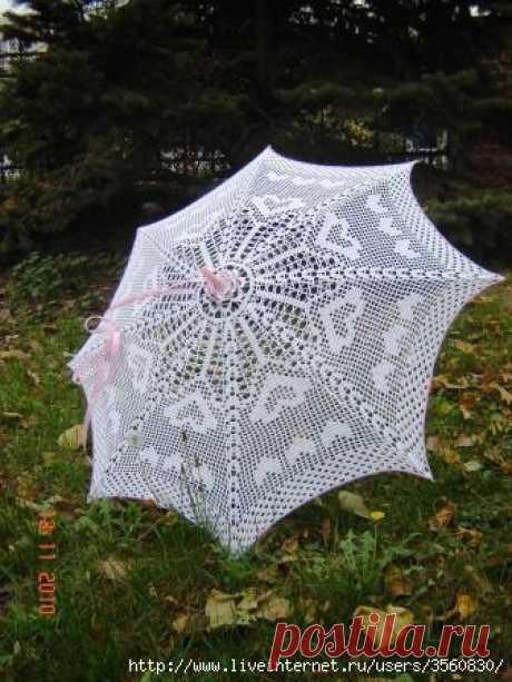 Зонт. Шикарная работа. Есть схема вязания.
