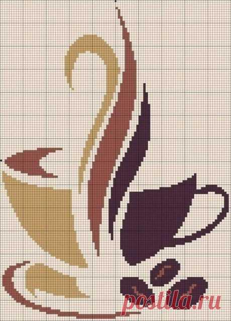 Вышивка: чашки кофе
