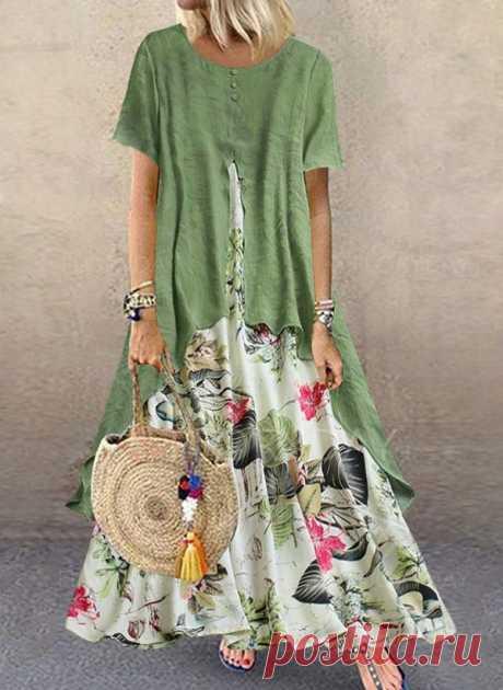 Повседневное длины макси Платья с цветочным принтом с короткыми рукавами - Floryday