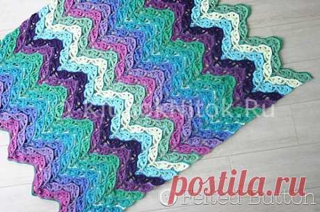 Шикарный разноцветный плед   Вязание крючком   Вязание спицами и крючком. Схемы вязания.