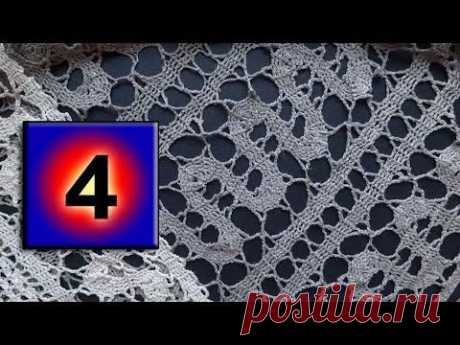 """We begin to knit – Video knitting lessons\"""" \""""Registration of bends of a band\"""" – Bryuggsky lace – 4 Lesson"""