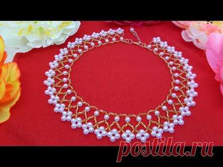 Beaded necklace/PEARL necklace/Pearl collar/Жемчужное ожерелье/Жемчужное колье/Колье из бусин