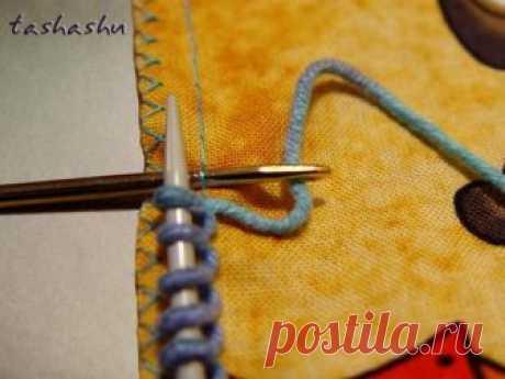 Оригинальный и легкий способ набора петель на ткани для обвязки спицами или крючком! .