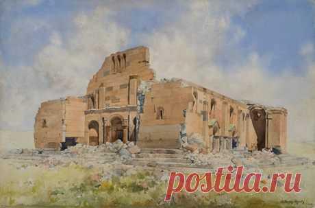 Ֆեթվաճյան Արշակ Աբրահամի (1863 - 1947)  Երերուք. Հովհաննես Մկրտիչի տաճարը (1907),թուղթ, ջրաներկ,33x50 սմ