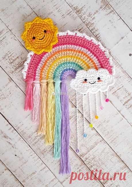 Смотрите какая прикольная радуга!  #аппликация_крючком@knit_hook, #радуга_крючком@knit_hook  крючком  Источник: https://crochet101.blogspot.com/