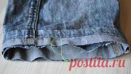 Как обрезать и подшить джинсы.