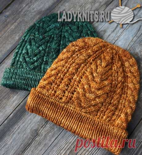 Knitted spokes a cap with a top and a pattern from braids