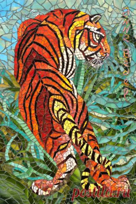 """Indian tiger Collage Saatchi Art is pleased to offer the collage, """"Indian tiger,"""" by Anne Bedel, available for purchase at $5450 USD. Original Collage: Glass, Mosaic, Wood on Glass, Wood. Size is 29.5 H x 19.7 W x 1.2 in."""
