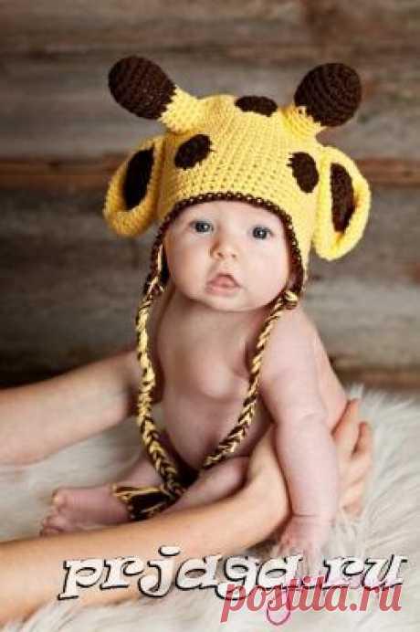 Шапочка для новорожденного крючком «Жирафа»