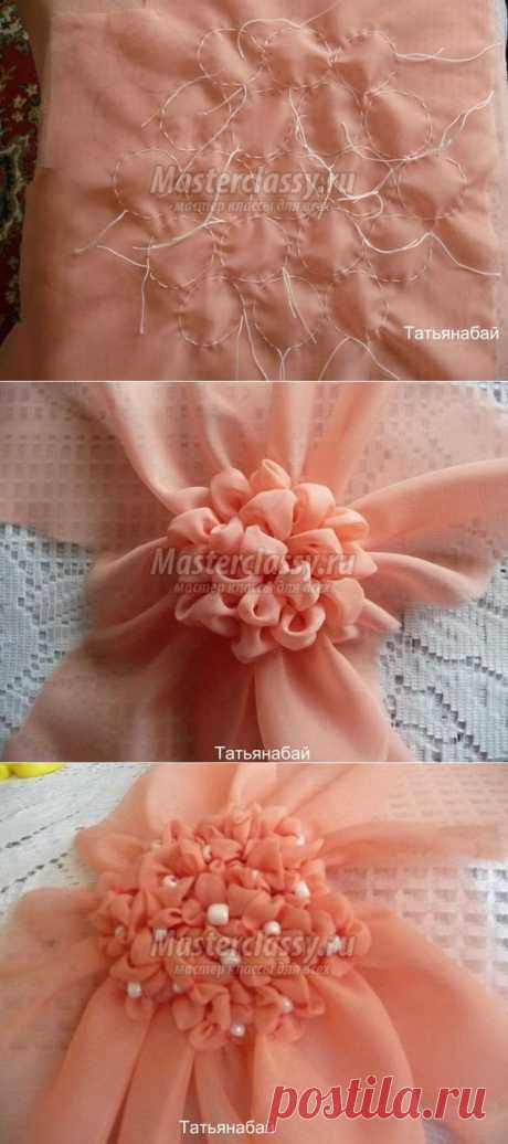 Цветы из ткани. Гортензия в горшочке. Мастер класс с пошаговыми фото