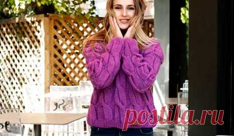 Купить вязаный женский свитер с объёмными косами ручной работы - Asivia