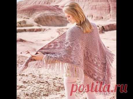 Красивый асимметричный платок ажурным узором
