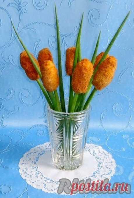 """Закуска """"Камыши"""" - Необычная закуска в виде камышей из курицы с сыром и зеленью."""