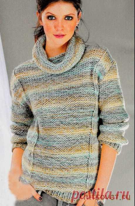 Меланжевый пуловер с узорами - Хитсовет Меланжевый пуловер с узорами. Вам потребуется: пряжа (75% лолиакрила, 25% полиамида; 120 м на 100 г) - 500 (600) 600 г меланжевой; спицы № 8 и 9; круговые спицы № 9.